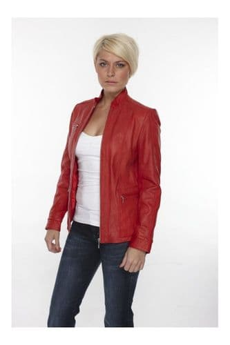 Ladies Leather Jackets In Red:DM